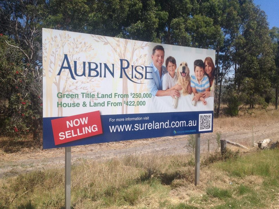 Aubin Rise Large Sign